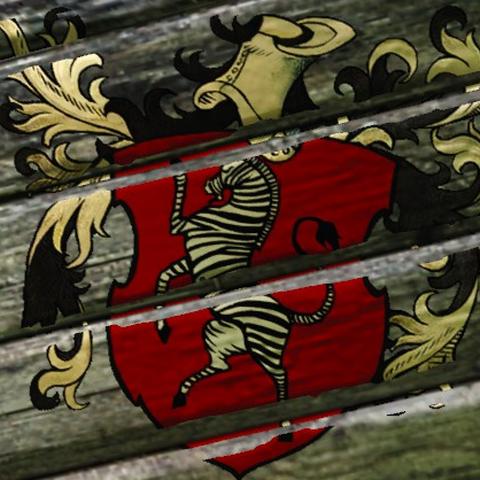 Герб неизвестной далекой страны, изображенный на затонувшем корабле.  Возможно, это герб Зангвебара.