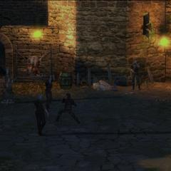 Тренировка ведьмаков во дворе