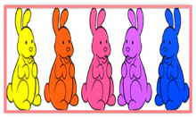 Chocolate Bunnies Colorful Five Metal Frame