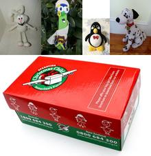 Four Plush Christmas Child Boxes