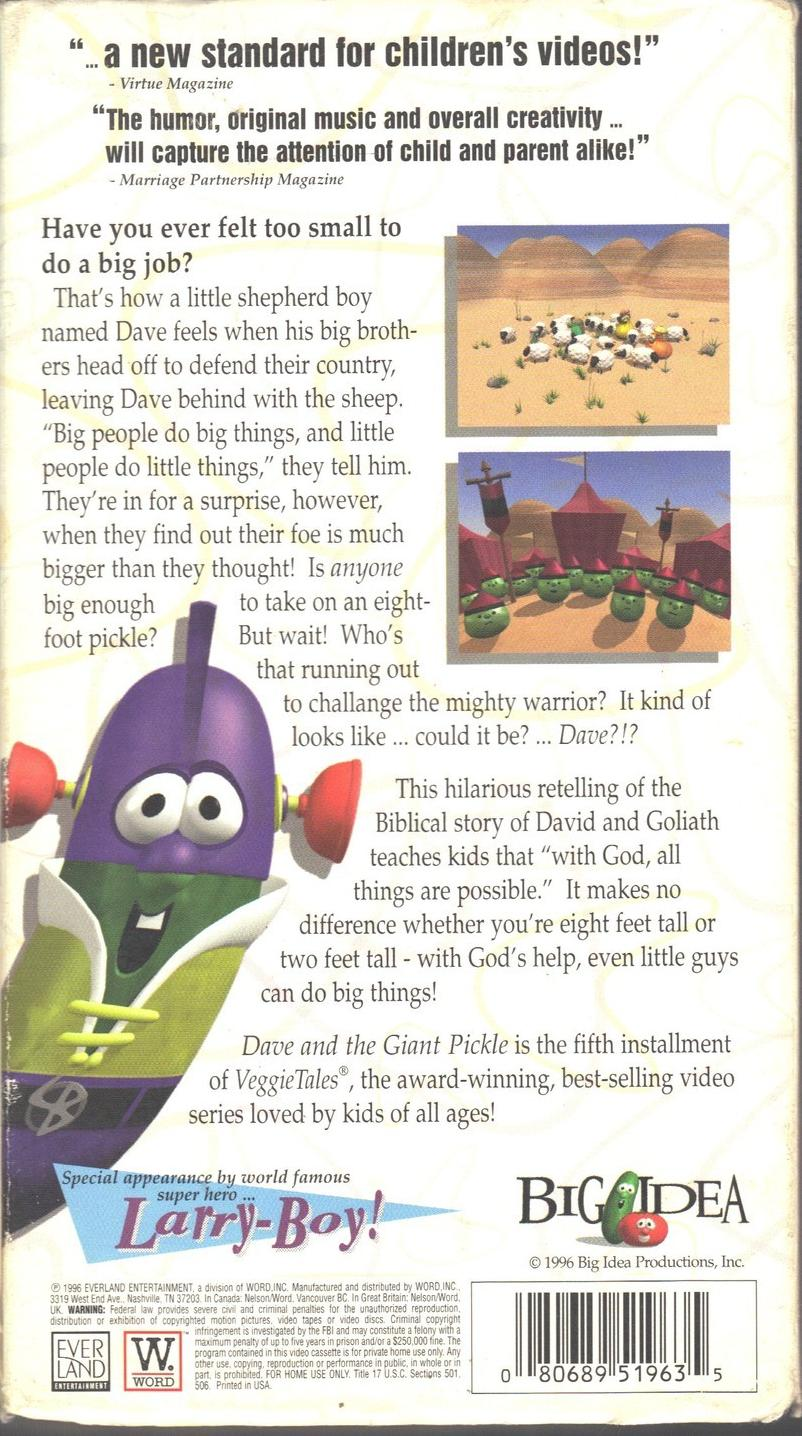 image dave 1996 back cover jpg veggietales it u0027s for the kids