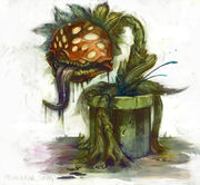 An-illustrated-painting-by-Mike-Puncekar-of-a-plant-monster-from-the-mario-video-games