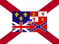 Alabama State Flag Proposal St Andrews Cross Concept with Flags flown over Alabama Centered Designed By Stephen Richard Barlow 29 July 2014
