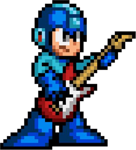 File:Mega Man with guitar (pixel).png