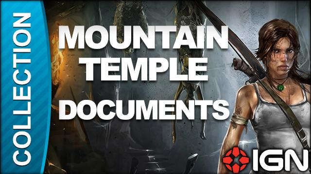 Tomb Raider Walkthrough - Document Locations Mountain Temple