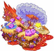 Kirby Mass Attack arte - Valle volcánico