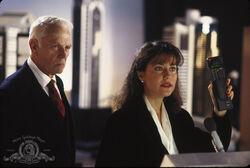 Still of Belinda Bauer and Dan O'Herlihy in RoboCop 2
