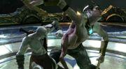 Kratos confronting Pollux & Castor