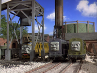 Splatter and Dodge being cross at their boss for letting Mr Conducter aka Twinkle Toes escape