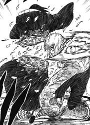 Kabuto cuts down Itachi