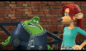 Le Frog talking to Rita