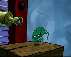 Plankton yelling with rage and frustation