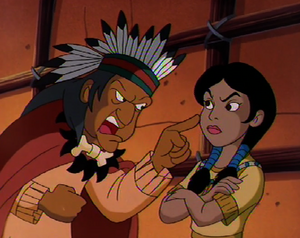 The Medicine Man yelling at Pocahontas
