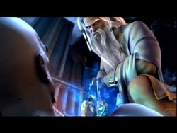 Zeus stabs Kratos
