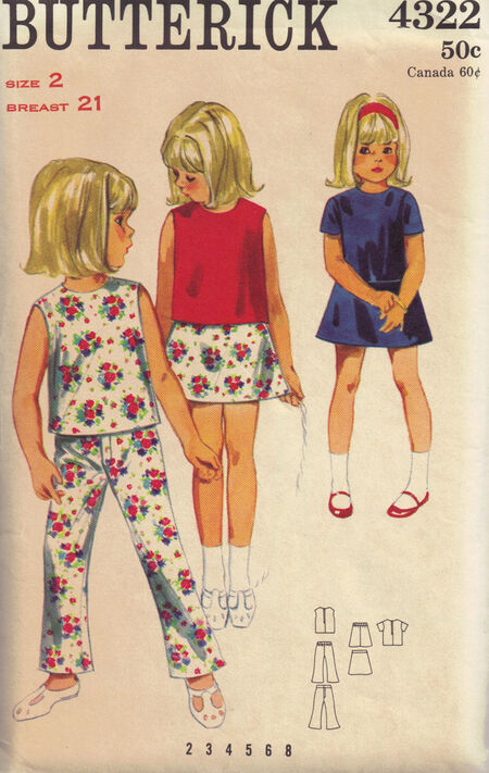 C1960s 4322 butterick girls pants top sz 2