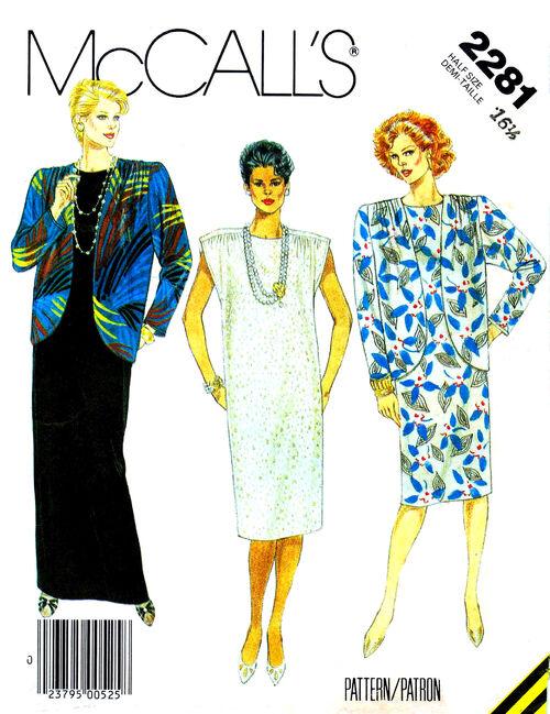 McCalls 1985 2281 F Size 16.5