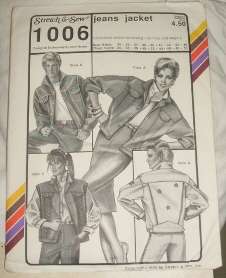 Stretch and Sew Sewing Pattern 1006 Jeans Jacket