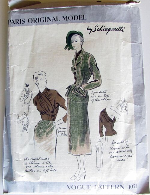 Vogue Paris Original Model Pattern1051 by Schiaperelli Size 12, Bust 30, Hip 33 Vintage 1940 Incomplete 2