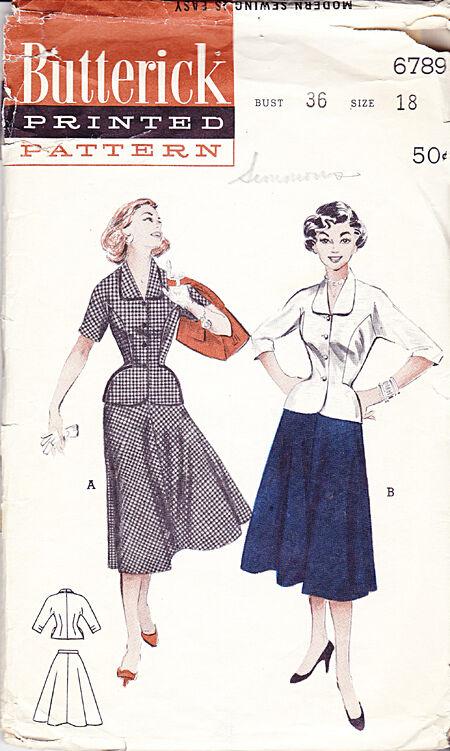 Butterick 6789 1940s Jacket Skirt