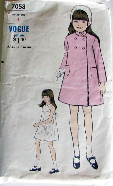 Vogue Sewing Pattern 7058 Girls Spring Coat. Size 4 2