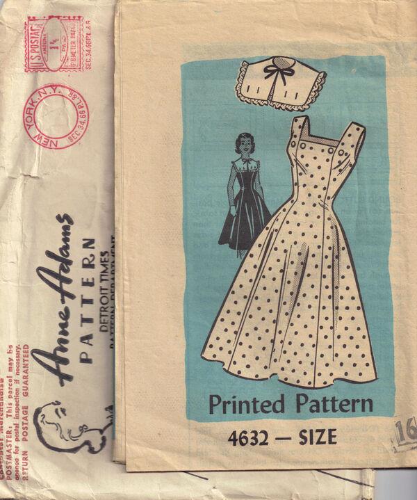 C1950s 4632 Anne Adams Dress Collarette SEC34.66 1.5cent