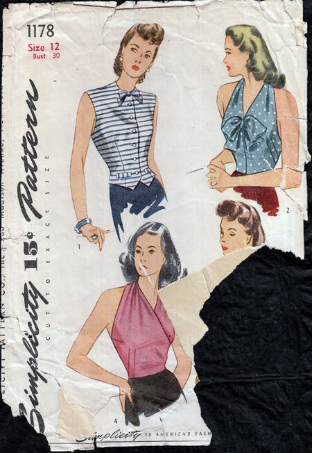 Vintage 1940s Blouse pattern from Penelope Rose at Artfire