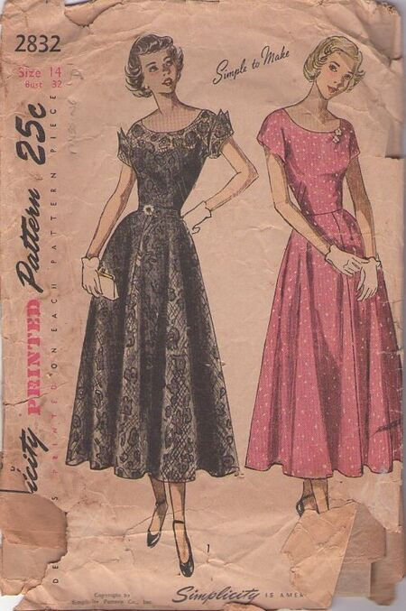 Simplicity 2832 1950s party dress image