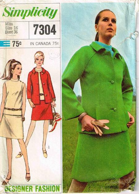 C1967 7304 Simplicity Jacket overblouse skirt