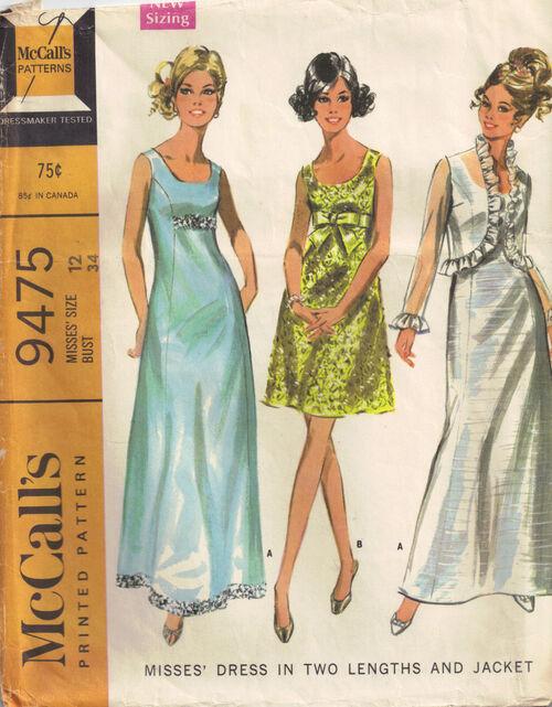 C1968 9475 McCalls dress sz12