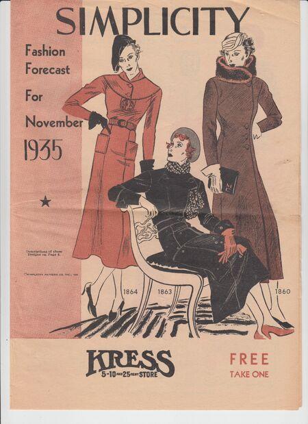 Simplicity Fashion Forecast November 1935