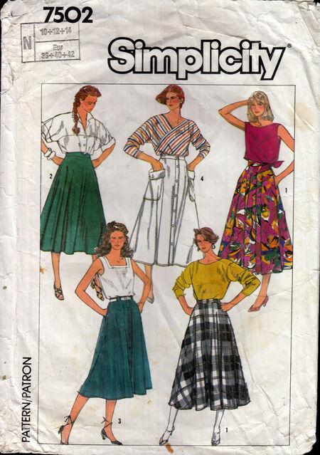 Vintage sewing pattern full circle skirt Penelope Rose at Artfire