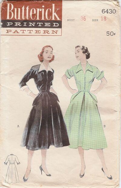 New Look 1950's Winged Collar Cuffs Shirtwaist Dress