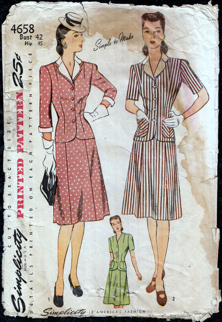 Vintage 40s women's suit pattern large Penelope Rose at Artfire