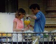 Leon pouring juice