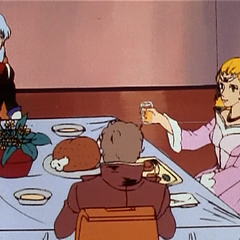 Princess Allura toasts Prince Bokar. Her weakness for noble long-haired bishounen men is beginning to become apparent....