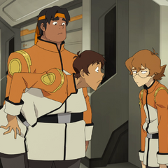 Lance, Hunk and Pidge in their Garrison uniforms.