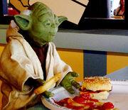 Yoda having lunch