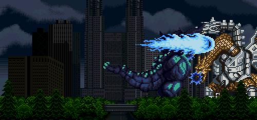 5506235-super godzilla uses his 'super punch' against mecha-king ghidorah