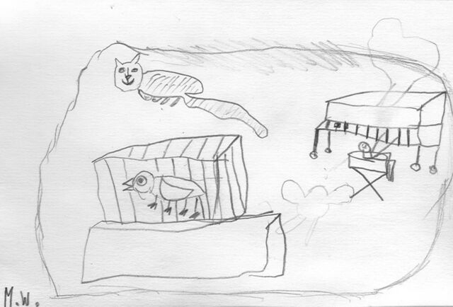 File:Michael Wang The cat and the bird and piano.jpg