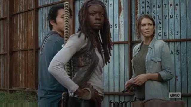 File:AMC TWD 6x15 Michonne, Maggie, Glenn.png