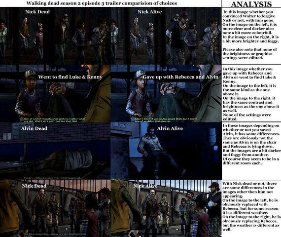 File:Walking dead season 2 episode 3 trailer comparision of different choices you made..jpg