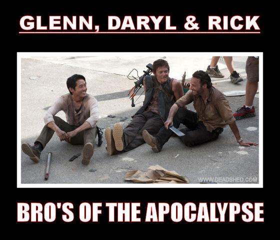 File:The Walking Dead Season 3 Glenn Daryl Rick Apocalypse Bros Meme DeadShed.jpg