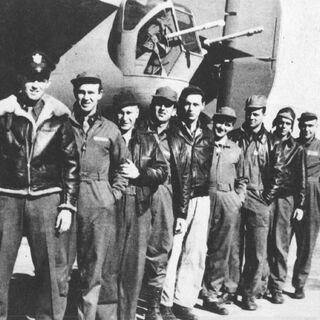 The crew of 41-24301 from the left: 1Lt. W.J. Hatton, pilot; 2Lt. R.F. Toner, copilot; 2Lt. D.P. Hays, navigator; 2Lt. J.S. Woravka, bombardier; TSgt. H.J. Ripslinger, engineer; TSgt. R.E. LaMotte, radio operator; SSgt. G.E. Shelly, gunner; SSgt. V.L. Moore, gunner; and SSgt. S.E. Adams, gunner.