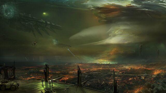 File:Cencri's Capital In Flames. Republic Fleet Over Head