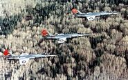 CF-104 Starfighters of 417 Sqn in flight near Cold Lake 1976