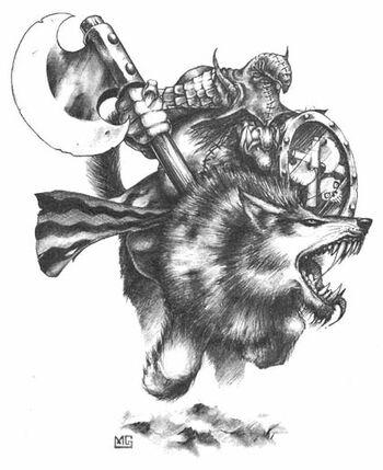 Hobgoblin Wolf Rider B&W Mark Gibbons Illustration