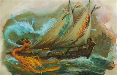 Flaming Scimitar Dreadfleet colour illustration