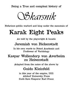Warhammer Life of Skarsnik