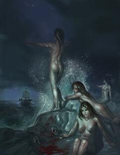 850 9104 Sirens 2d fantasy sirens ocean ship skulls picture image digital art
