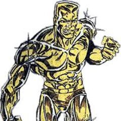 His golden skin only strengthens his powerful blows...